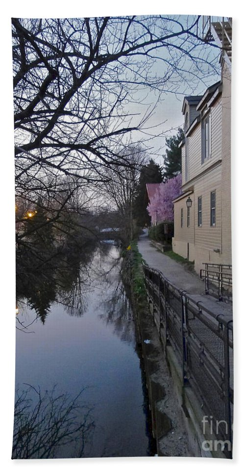 Bridge Street Hand Towel featuring the photograph Evening On The Canal Path by Christopher Plummer