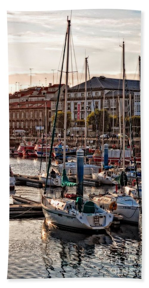 Evening On The Harbor Bath Sheet featuring the photograph Evening On The Harbor by Mary Machare