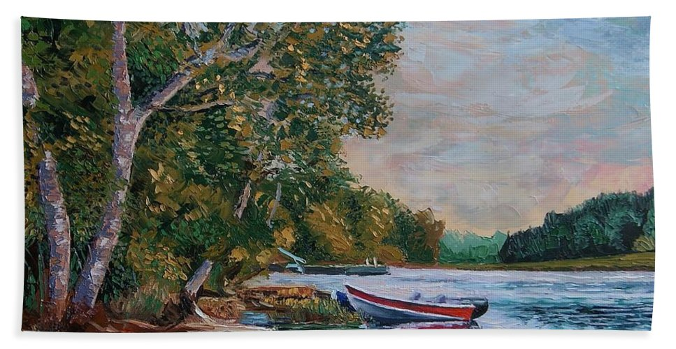Landscape Hand Towel featuring the painting Evening On The Lake by Efim Melnik