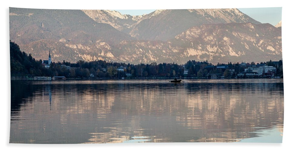 Bled Hand Towel featuring the photograph Evening Over Lake Bled by Ian Middleton