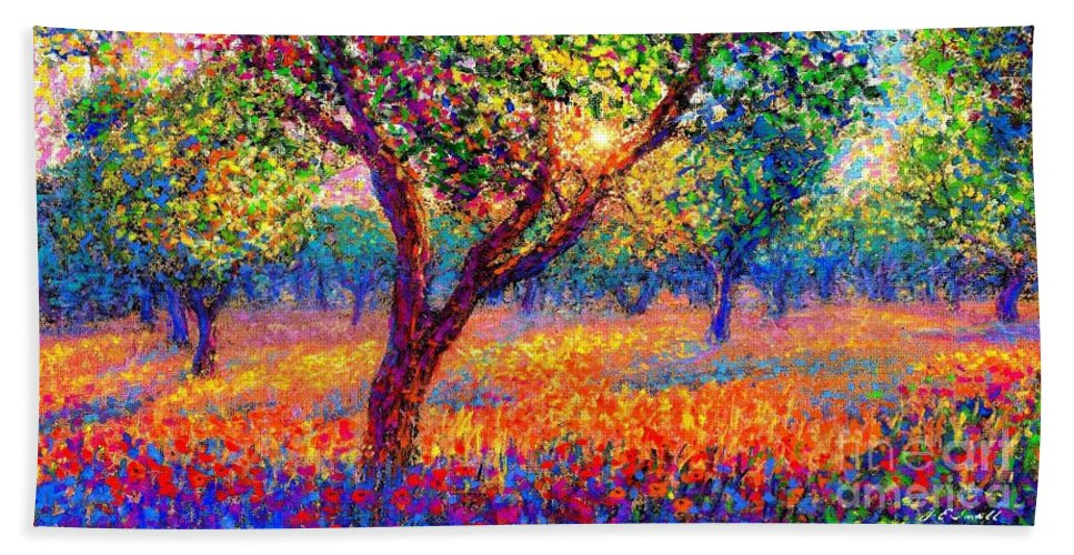 Sun Hand Towel featuring the painting Evening Poppies by Jane Small