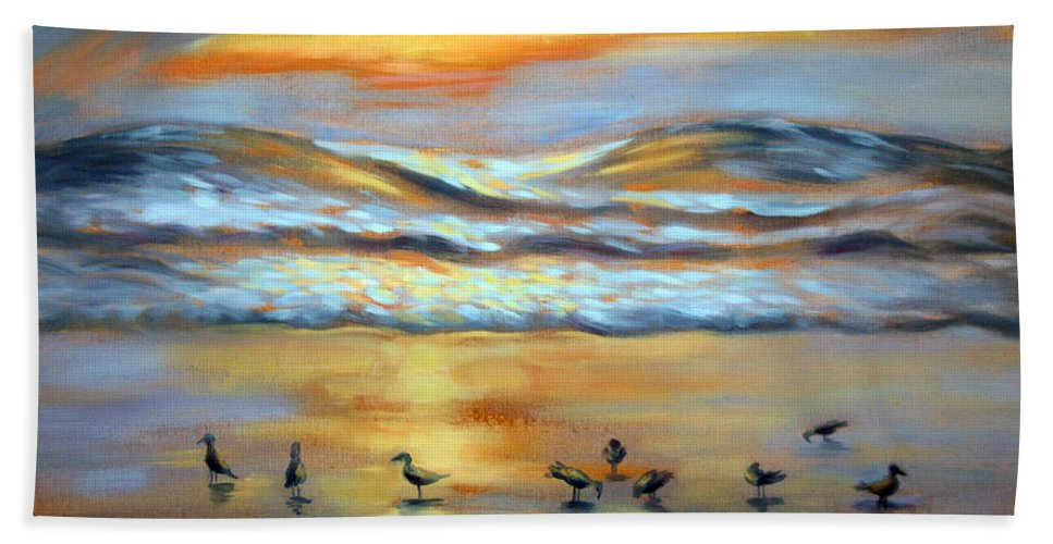 Sunset Hand Towel featuring the painting Evening Prayers by Karin Leonard