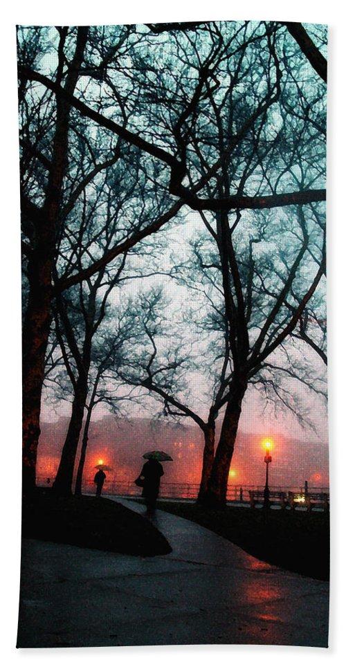 Rain Hand Towel featuring the photograph Evening Rain Photofresco by Joseph Hedaya