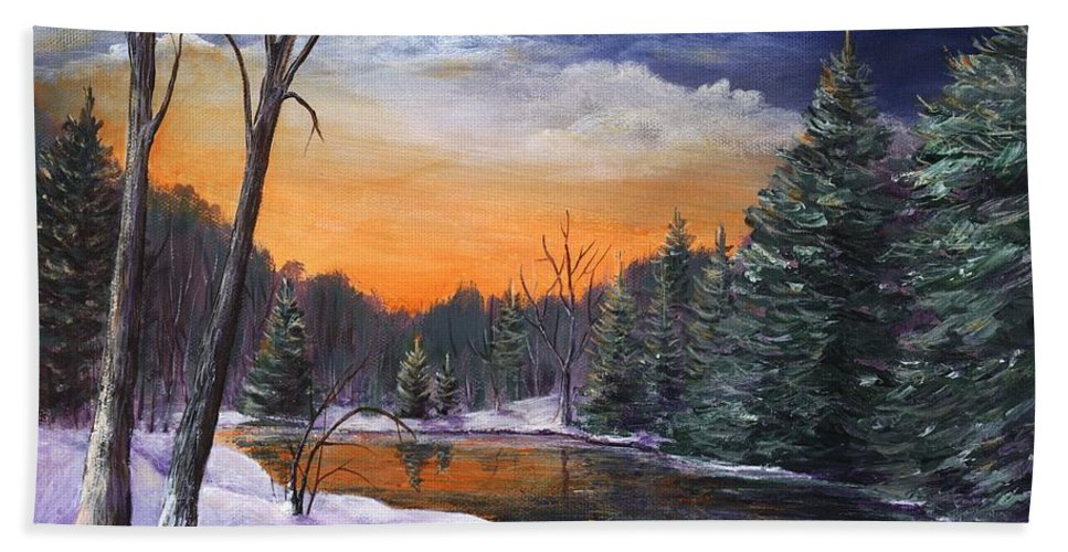 Interior Hand Towel featuring the painting Evening Reflection by Anastasiya Malakhova