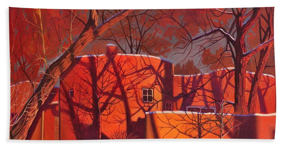 Taos Bath Sheet featuring the painting Evening Shadows On A Round Taos House by Art James West