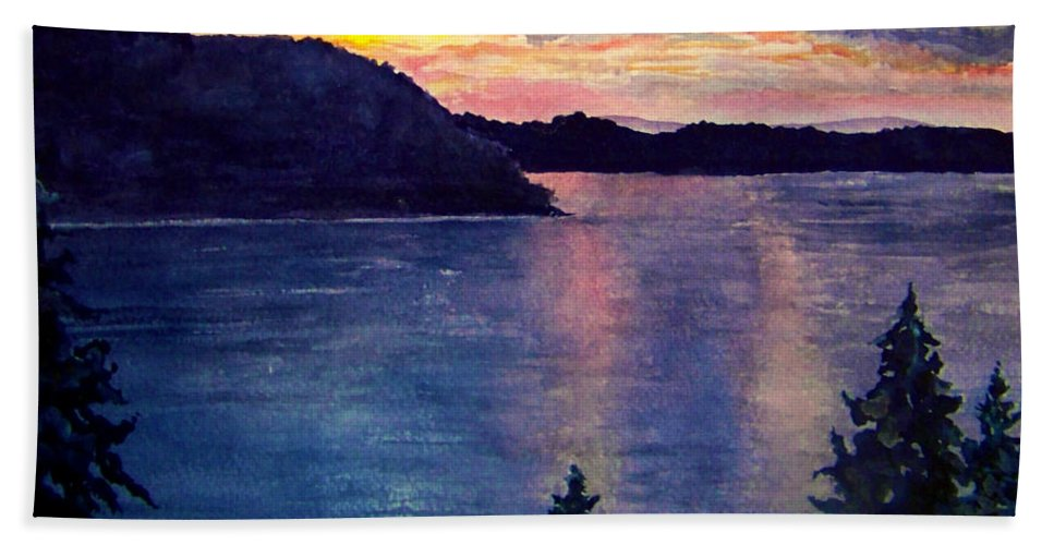 Sunset Bath Towel featuring the painting Evening Song by Brenda Owen