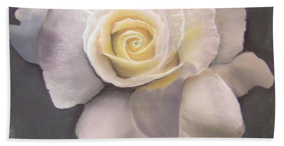 White Rose Bath Sheet featuring the pastel Evening Star by Rosemarie Temple-Smith