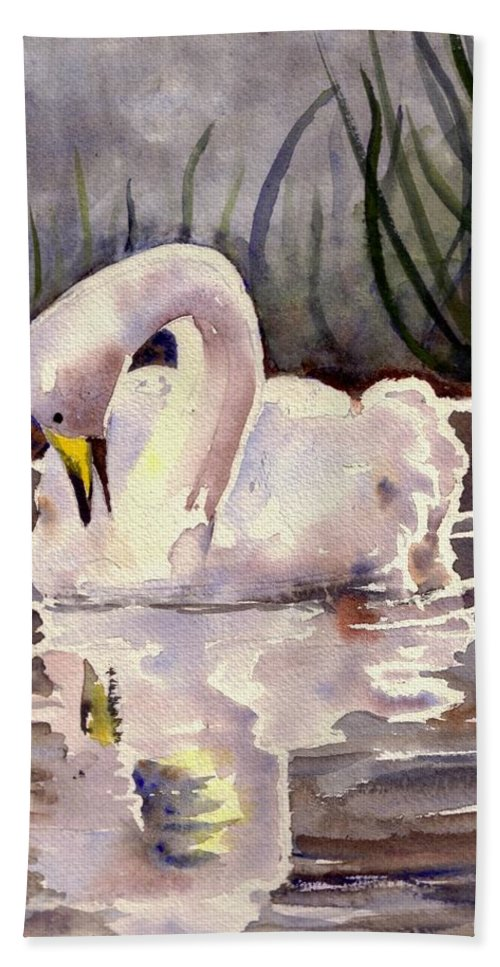 Swan Hand Towel featuring the painting Evening Swan by Christine Burn