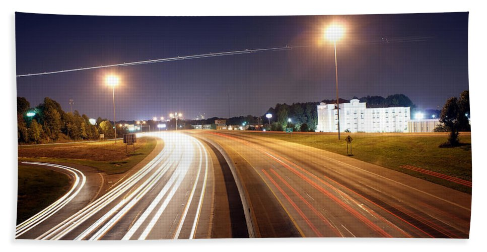 District Bath Sheet featuring the photograph Evening Traffic On Highway by Alex Grichenko