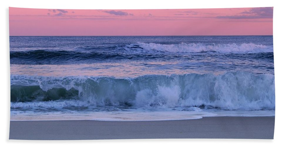 Jersey Shore Hand Towel featuring the photograph Evening Waves - Jersey Shore by Angie Tirado