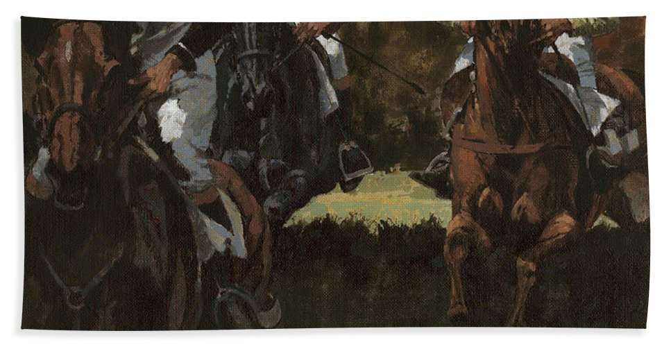 Don Langeneckert Hand Towel featuring the painting Eventing Horses Over Jump by Don Langeneckert