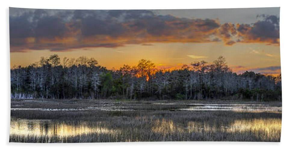 Butcher Bath Sheet featuring the photograph Everglades Panorama by Debra and Dave Vanderlaan