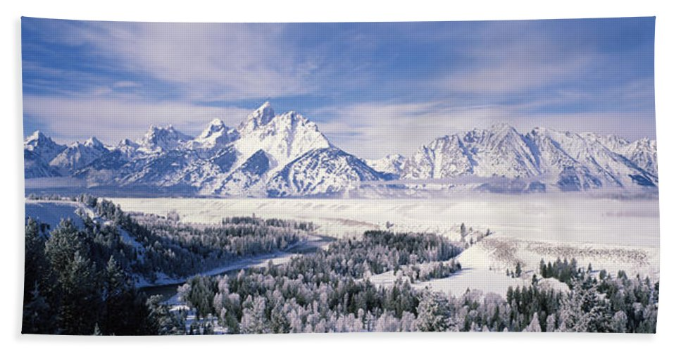 Photography Hand Towel featuring the photograph Evergreen Trees On A Snow Covered by Panoramic Images