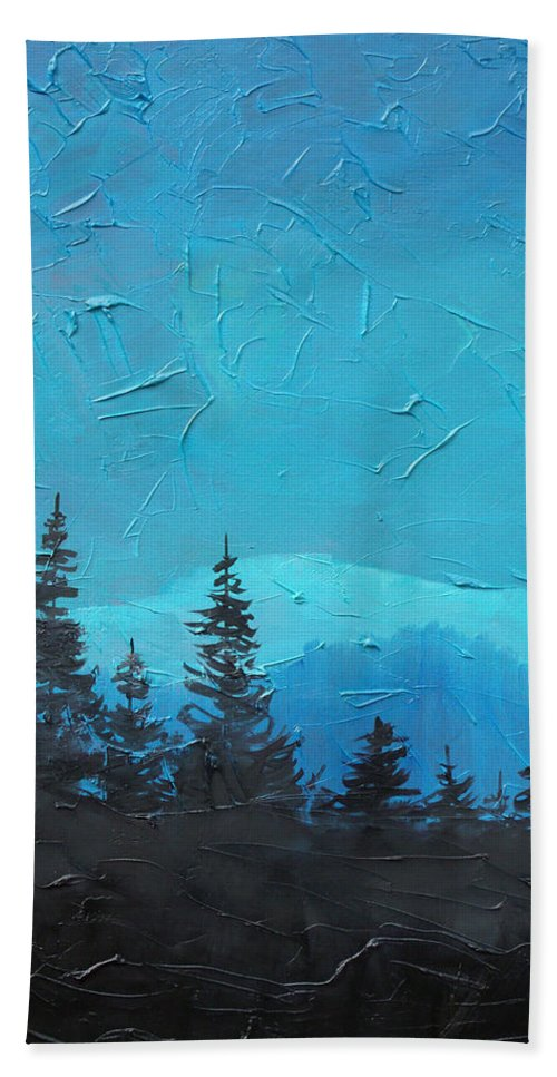 Landscape Bath Sheet featuring the painting Evergreen trees by Sergey Bezhinets