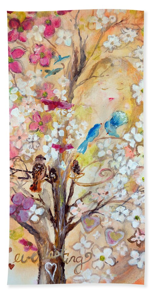 Dogwood Bath Sheet featuring the painting Love Everlasting by Ashleigh Dyan Bayer