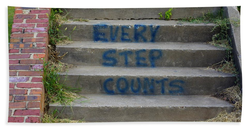Graffitti Bath Sheet featuring the photograph Every Step Counts by Darrell Clakley