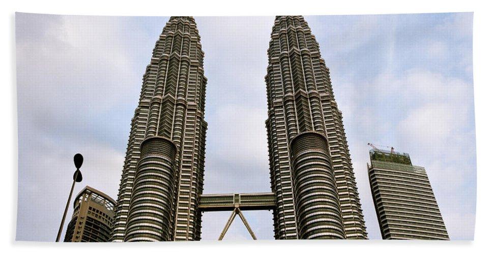 Petronas Towers Hand Towel featuring the photograph Evocative Petronas Towers by Shaun Higson