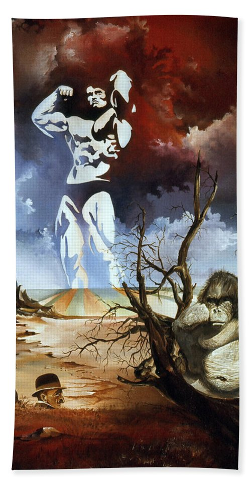 Surrealism Bath Towel featuring the painting Evolution by Otto Rapp