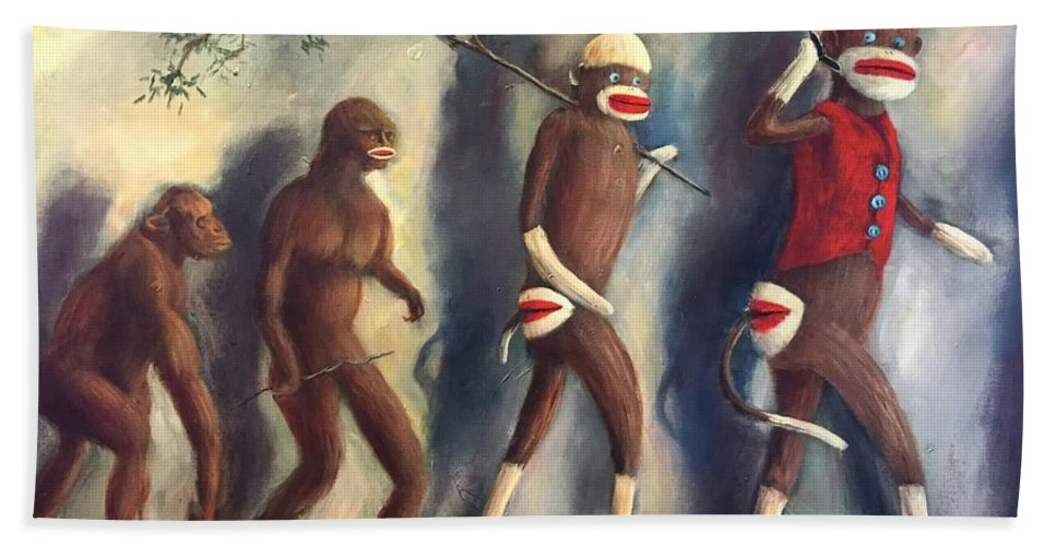 Evolution Bath Sheet featuring the painting Evolution by Randy Burns