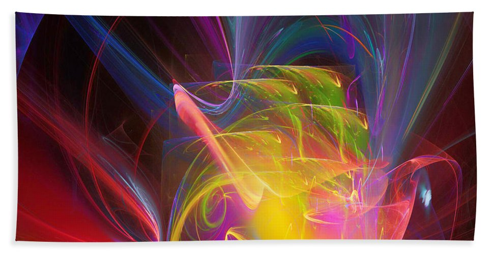 Abstract Hand Towel featuring the digital art Exceeding Joy by Margie Chapman