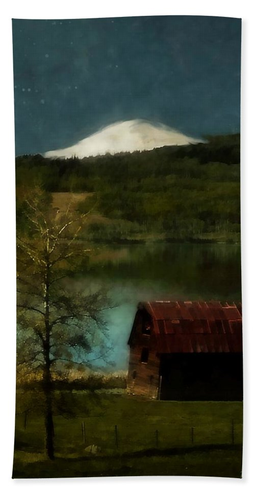 Landscape Bath Sheet featuring the painting Excellence and Peace by RC DeWinter