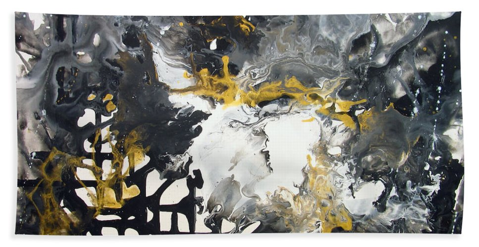 Abstract Bath Sheet featuring the painting Excitement3 by Liudmyla Rozumna