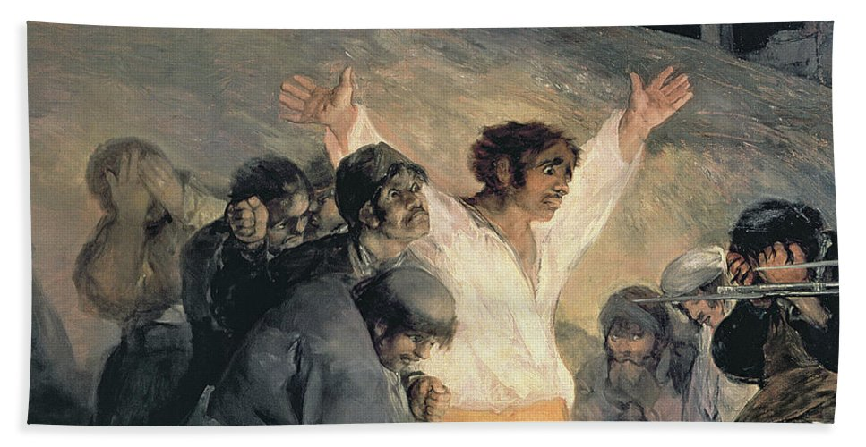 Against Hand Towel featuring the painting Execution Of The Defenders Of Madrid by Francisco Jose de Goya y Lucientes