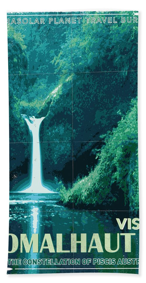 Space Bath Towel featuring the digital art Exoplanet 04 Travel Poster Fomalhaut B by Chungkong Art
