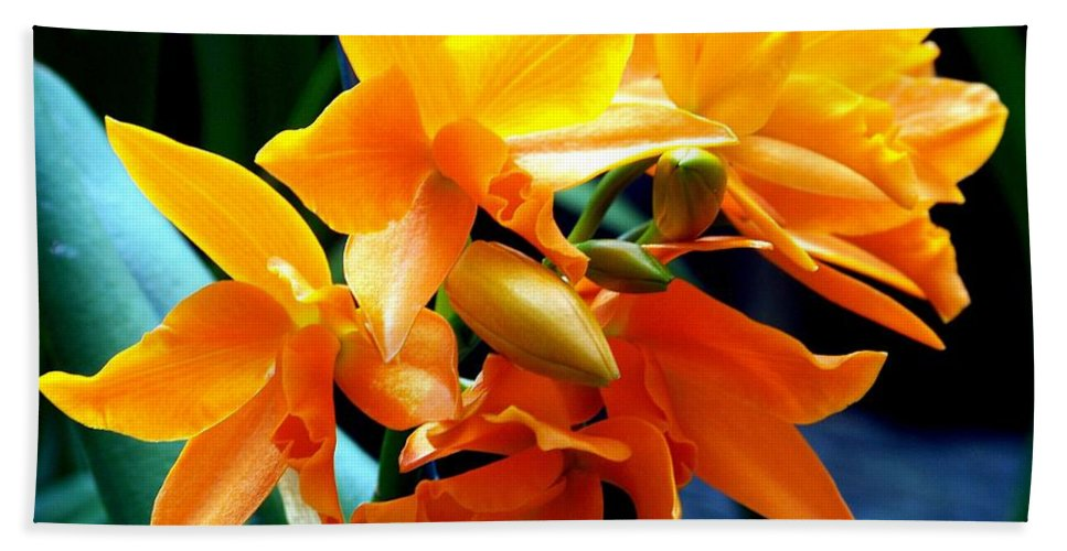Flowers Bath Sheet featuring the photograph Exotic Orange by Karen Wiles
