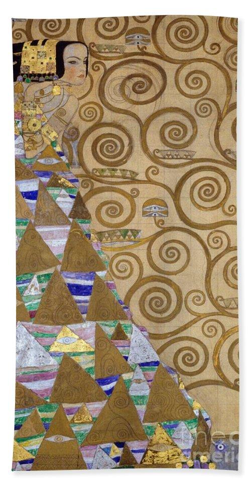 Art; Nouveau; Secession; Expectation; Preparatory; Cartoon; Stoclet; Frieze; Woman; Secessionist; Female; Figure Bath Towel featuring the painting Expectation Preparatory Cartoon For The Stoclet Frieze by Gustav Klimt