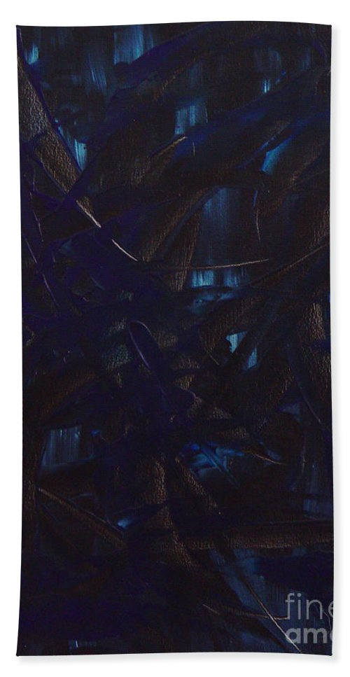 Abstract Hand Towel featuring the painting Expectations Blue by Dean Triolo
