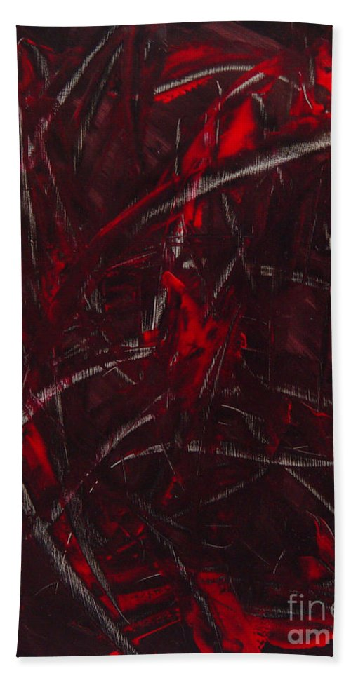 Abstract Hand Towel featuring the painting Expectations Red by Dean Triolo