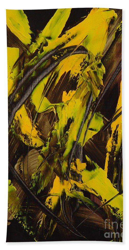 Abstract Hand Towel featuring the painting Expectations Yellow by Dean Triolo