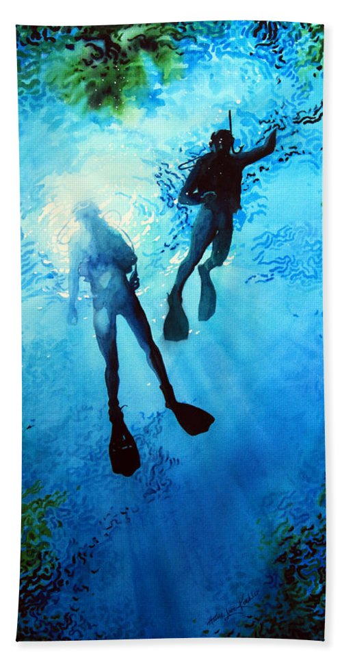 Sports Artist Bath Sheet featuring the painting Exploring New Worlds by Hanne Lore Koehler