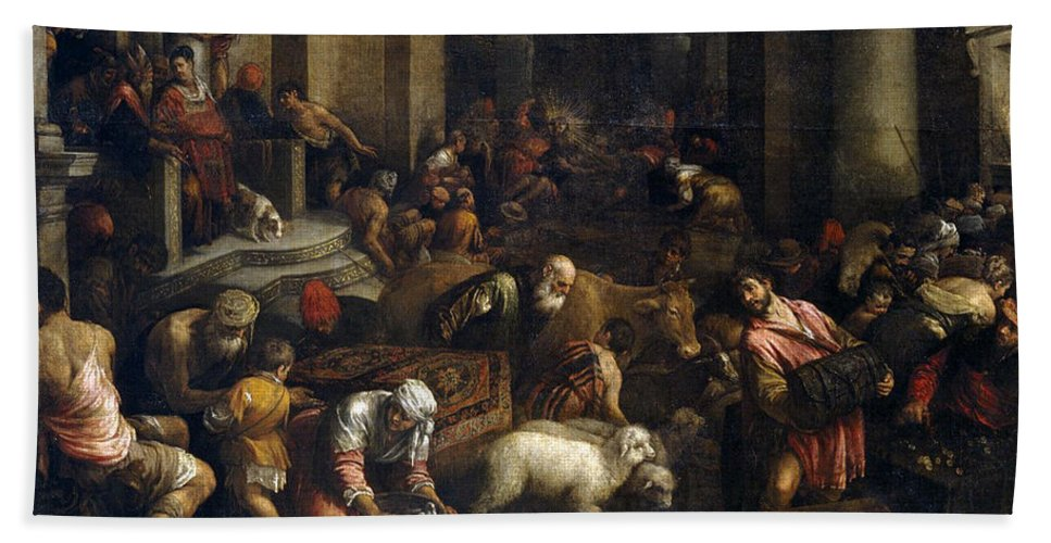 Jacopo Bassano Bath Sheet featuring the painting Expulsion Of Merchants From The Temple by Jacopo Bassano
