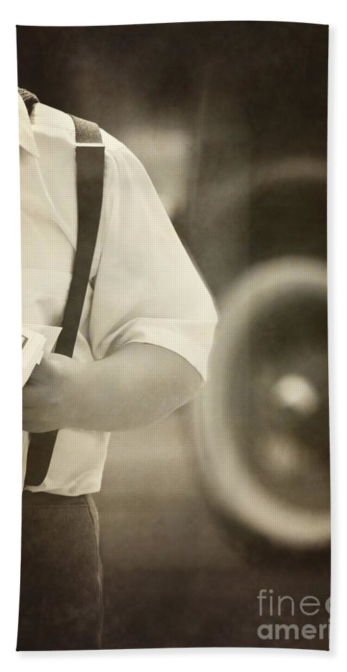 Boy; Male; Caucasian; Newspaper; Newsboy; Model A; Ford; Automobile; Transportation; City; Town; News; Suspenders; Antique; Vintage; Turn Of The Century; 1920s; 8-10; Work; Job; Delivery; Road; Street; Holding; Tire; Sepia Hand Towel featuring the photograph Extra Extra by Margie Hurwich