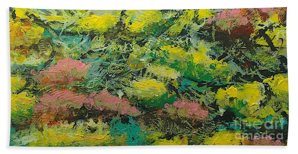 Landscape Bath Sheet featuring the painting Extract by Allan P Friedlander