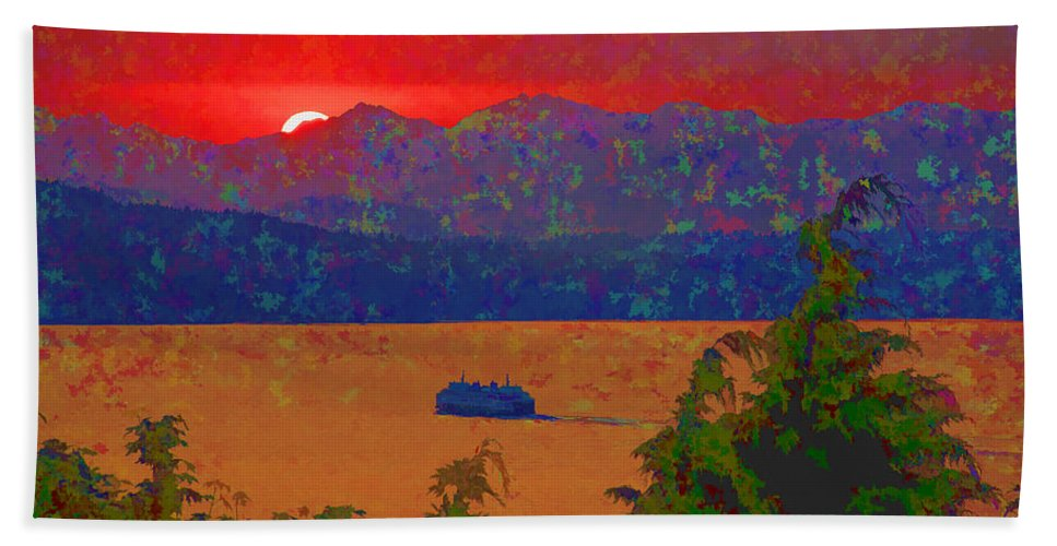 Puget Sound Hand Towel featuring the photograph Extreme Sunset by David Gleeson