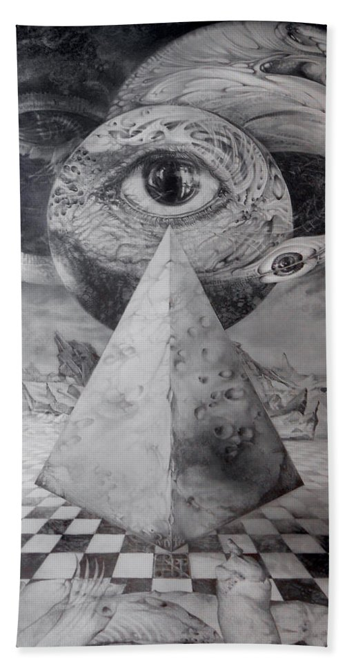 Drawing Hand Towel featuring the drawing Eye Of The Dark Star - Journey Through The Wormhole by Otto Rapp