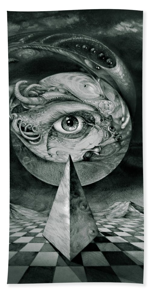 otto Rapp Surrealism Bath Towel featuring the drawing Eye Of The Dark Star by Otto Rapp