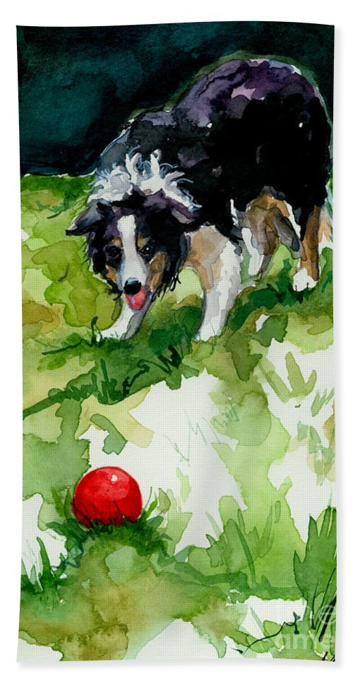 Border Collie Bath Sheet featuring the painting Eye On Tthe Ball by Molly Poole