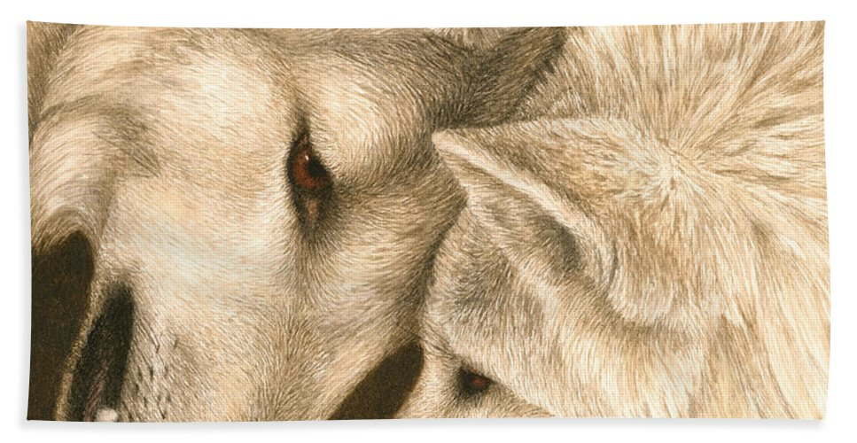 Wolves Hand Towel featuring the painting Eye To Eye by Pat Erickson