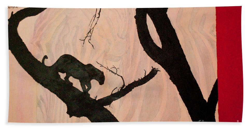 Panther Hand Towel featuring the painting Eyeing The Panther by Paulette B Wright
