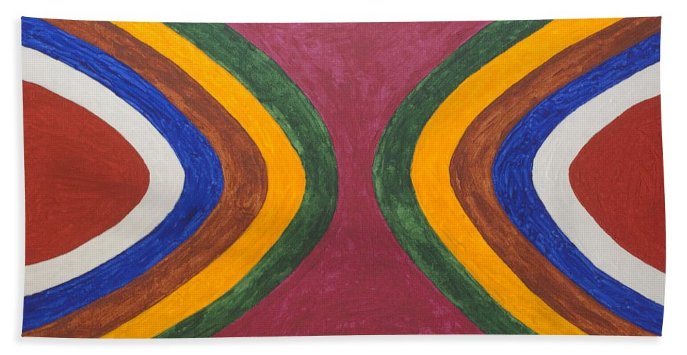 Abstract Bath Sheet featuring the painting Eyes Of Amen Ra by Stormm Bradshaw