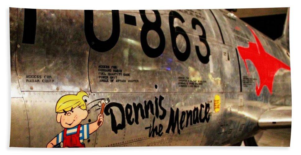 F-86d Sabre Dennis The Menace Bath Sheet featuring the photograph F-86d Sabre Dennis The Menace by Dan Sproul