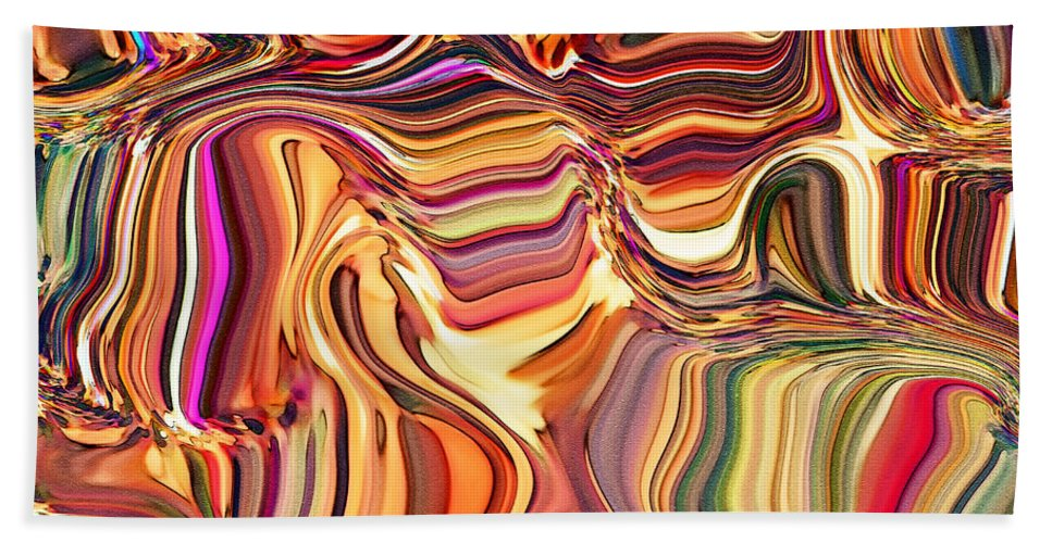 Abstract Bath Sheet featuring the digital art Fabric Fair by Debbie Portwood