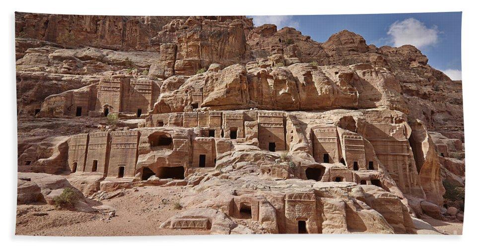 Jordan Bath Sheet featuring the photograph facade street in Nabataean ancient town Petra by Juergen Ritterbach