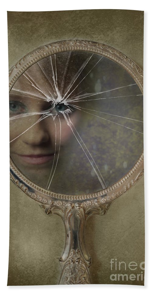 Woman Hand Towel featuring the photograph Face In Broken Mirror by Amanda Elwell