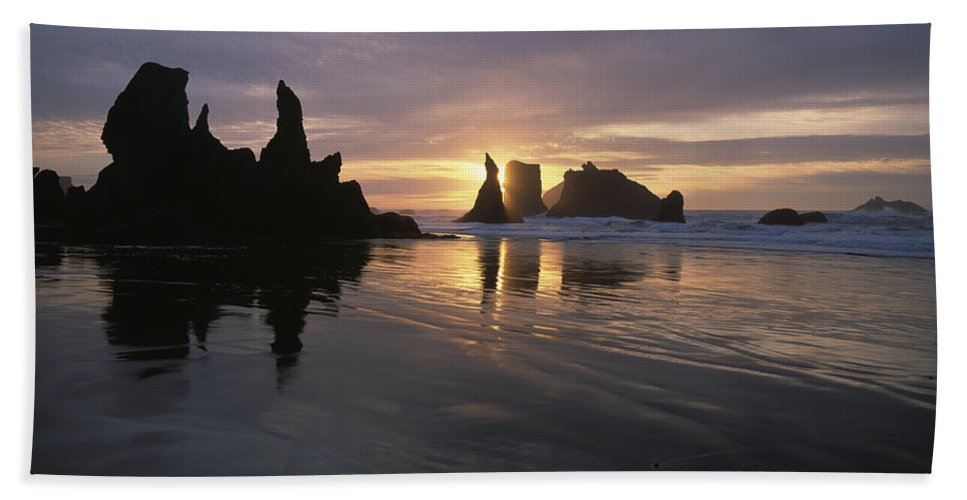 Bandon Hand Towel featuring the photograph Face Rock Beach Bandon Oregon by Jim Corwin
