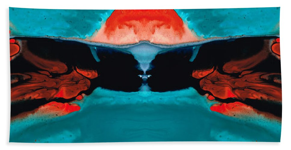 Samurai Bath Sheet featuring the painting Face To Face - Abstract Art By Sharon Cummings by Sharon Cummings